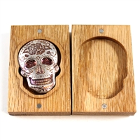 Monarch .999 Silver 2oz Coloured Sugar Skull in Wooden Box (No Tax)