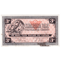G2-C1 1962 Canadian Tire Coupon 3 Cents Almost Uncirculated (Stain)