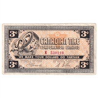 G2-C-X 1962 Canadian Tire Coupon 3 Cents VF-EF (Tear and Ink)