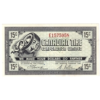 G7-C-E1 1972 Canadian Tire Coupon 15 Cents Almost Uncirculated