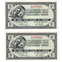 G8-A-S1 1978 Canadian Tire Coupon 5 Cents Almost Uncirculated (2 Notes)
