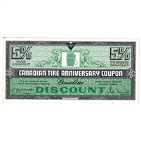 FAGD5 1972 Canadian Tire Coupon 5% Discount Almost Uncirculated