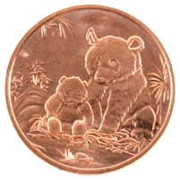 Pure Copper 1oz. .999 Fine Copper Panda - copper2 (TAX Exempt)