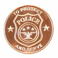 1oz. Pure Copper .999 Fine Copper - Police To Protect And Serve (No Tax) copper9