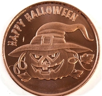 Pure Copper 1oz. .999 Fine - Happy Halloween Pumpkin (No Tax) copper13.1