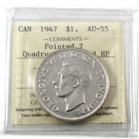 1947 Pointed 7, Quadruple Punched HP ICCS Certified AU-55