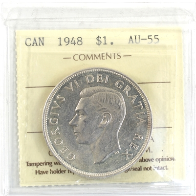 1948 Canada Dollar ICCS Certified AU-55 (Cleaned)