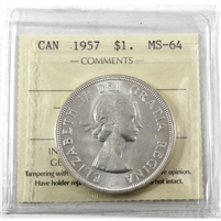 1957 Canada Dollar ICCS Certified MS-64