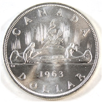 1963 Canada Dollar Choice Brilliant Uncirculated (MS-64) $