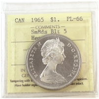 1965 Canada Sm. Beads Blunt 5 Dollar ICCS Certified PL-66 Heavy Cameo (XRZ 805)