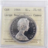 1966 Canada Dollar ICCS Certified PL-66 Large Beads; Heavy Cameo