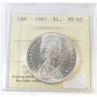 1967 Canada Dollar ICCS Certified MS-65