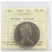 1968 Canada Normal Island Dollar ICCS Certified PL-64