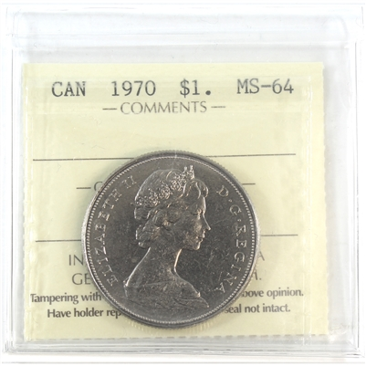 1970 Canada Nickel Dollar ICCS Certified MS-64