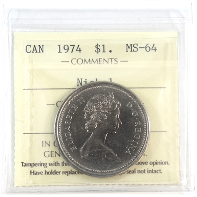 1974 Canada Nickel Dollar ICCS Certified MS-64