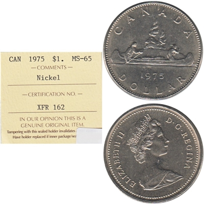 1975 Canada Nickel Dollar ICCS Certified MS-65