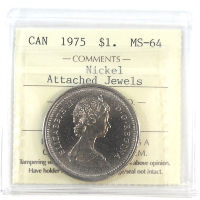 1975 Canada Nickel Dollar ICCS Certified MS-64 Attached Jewels
