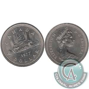 1977 Var. 2 Det. Jewel LWL Canada Nickel Dollar UNC+ (MS-62)
