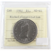 1982 Constitution Canada Nickel Dollar ICCS Certified MS-65