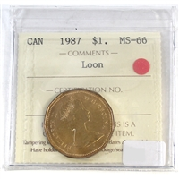 1987 Canada Loon Dollar ICCS Certified MS-66
