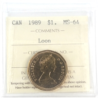 1989 Canada Dollar ICCS Certified MS-64 Loon