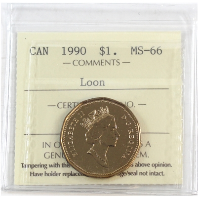 1990 Canada Dollar ICCS Certified MS-66 Loon