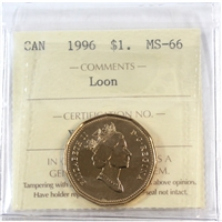 1996 Canada Loon Dollar ICCS Certified MS-66
