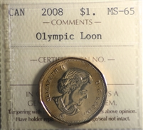 2008 Olympic Loon Canada $1 ICCS Certified MS-65