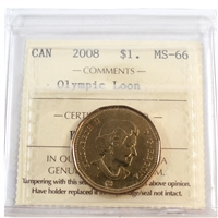 2008 Canada Olympic Loon Dollar ICCS Certified MS-66