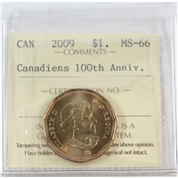2009 Canada Canadiens 100th Ann. Dollar ICCS Certified MS-66