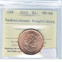 2010 Canada Saskatchewan Roughriders Dollar ICCS Certified MS-66