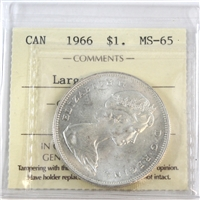 1966 Canada Dollar Large Beads ICCS Certified MS-65 (XSH 181)
