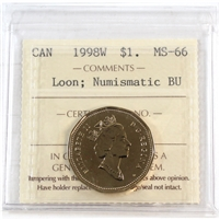 1998W Canada Loon Dollar ICCS Certified MS-66 NBU