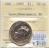 1999 Canada Loon Dollar ICCS Certified MS-66 NBU