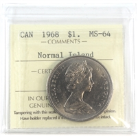 1968 Canada Normal Island Dollar ICCS Certified MS-65