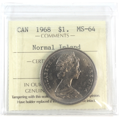 1968 Canada Dollar ICCS Certified MS-64 Normal Island