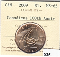 2009 Canada Canadiens 100th Anniv. Dollar ICCS Certified MS-65