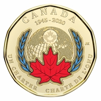 2020 Coloured United Nations Canada Loon Dollar Brilliant Uncirculated (MS-63)