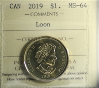 2019 Canada Loon $1 ICCS Certified MS-64