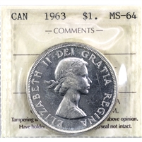 1963 Canada Dollar ICCS Certified MS-64 (UP 406)