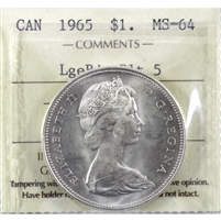 1965 Large Beads Blunt 5 (Type 3) Canada Dollar ICCS Certified MS-64 (XMX 047)