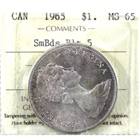 1965 Small Beads Blunt 5 (Type 2) Canada Dollar ICCS Certified MS-65 (XTB 012)