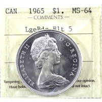1965 Large Beads Blunt 5 (Type 3) Canada Dollar ICCS Certified MS-64 (XHK 980)