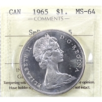 1965 Small Beads Blunt 5 (Type 2) Canada Dollar ICCS Certified MS-64 (XHK 961)