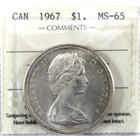 1967 Canada Dollar ICCS Certified MS-65 (XIC 229)