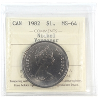 1982 Canada Dollar ICCS Certified MS-64 Nickel; Voyageur