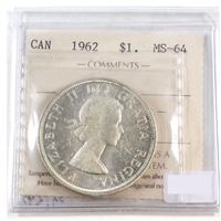 1962 Canada Dollar ICCS Certified MS-64 Cameo