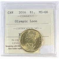 2016 Canada Olympic Loon Dollar ICCS Certified MS-66