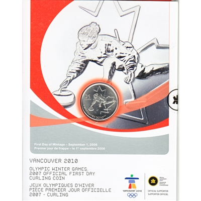 2007 Canada 25-cent Curling Olympic First Day Cover