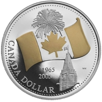 2005 Canada Gold Plated Proof Silver Dollar in Square Capsule (No Tax)